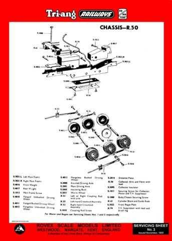 Triang Tri-ang No.003 Chassis R50 Service Sheets by download Mauritron #206193
