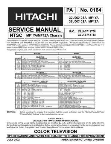 Hitachi 32UDX10SA Service Manual Schematics by download Mauritron #205772