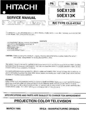 Hitachi 50EX13K Service Manual Schematics by download Mauritron #205812