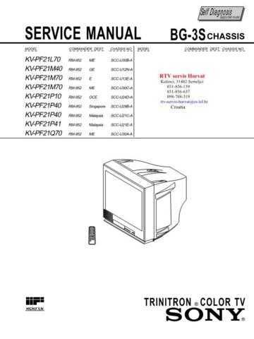 SONY KVPF21L70 KVPF21M40 KVPF21M70 KVPF21P10 KVPF21P40 KVPF2 Technical Info by