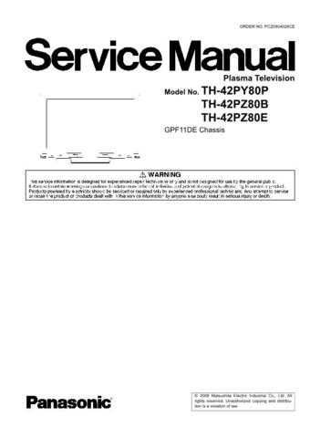 Panasonic TH-37PW5 Service Manual by download Mauritron #269195