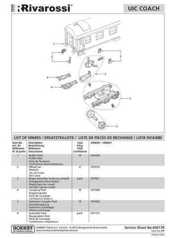 Rivarossi No.00017B UIC Coach Service Sheets by download Mauritron #206179