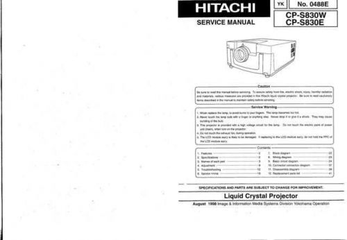Hitachi YK-0488E Service Manual by download Mauritron #265777