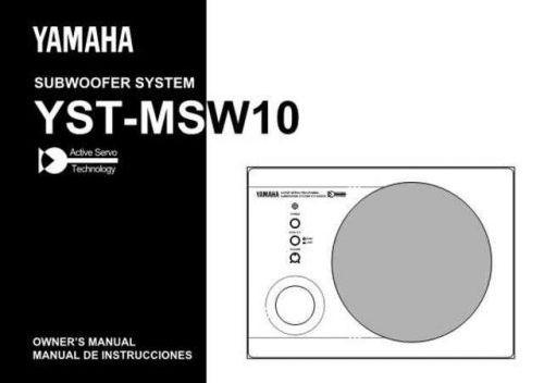 Yamaha YST-MSW10 Operating Guide by download Mauritron #250408