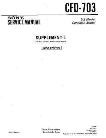 Sony CFD-703. Service Manual by download Mauritron #238762