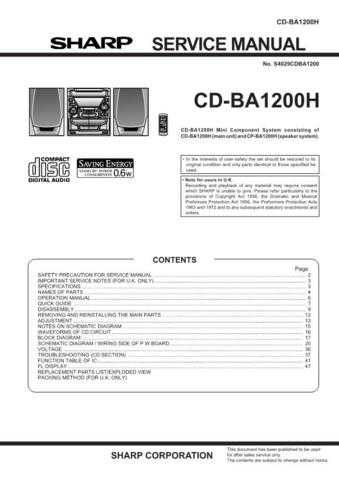 Sharp CDBA2010H Service Manual by download Mauritron #208415