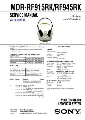 Sony MDR-RF915RKRF945RK Service Manual. by download Mauritron #242614
