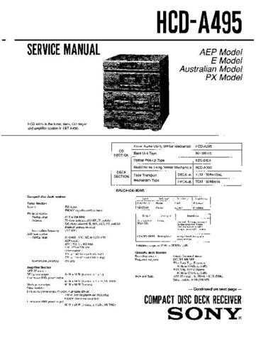 Sony HCD-A490K Service Manual by download Mauritron #240878