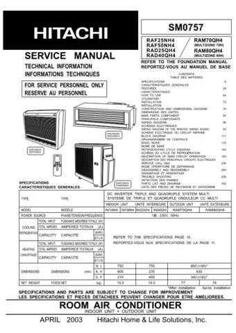 Hitachi RAS-24GH4RAC-24GH4 Service Manual by download Mauritron #264050