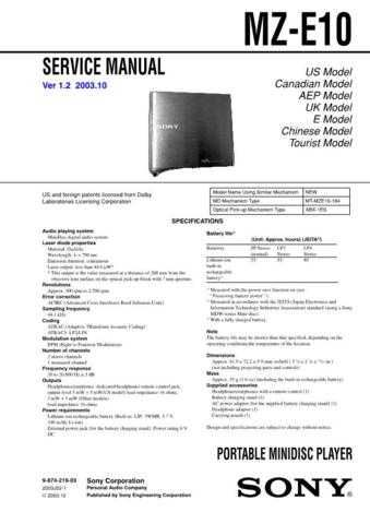 Sony MZ-E10. Technical Information by download Mauritron #235791