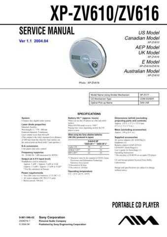 Sony XP-ZV616 Service Manual. by download Mauritron #246052