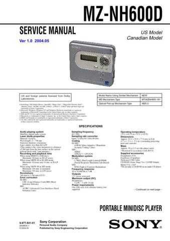 Sony MZ-RH10 Service Manual. by download Mauritron #243200