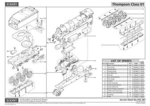 Hornby No.387 Thompson Class 01 Service Sheets by download Mauritron #207164