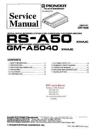 PIONEER RSA50 GMA5040 CRT1826 Technical Information by download #119346