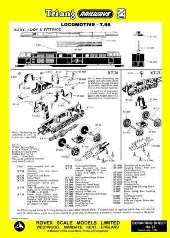 Triang Tri-ang No.023 Loco T96 Service Sheets by download Mauritron #206222