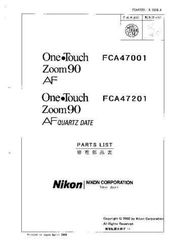 NIKON One Touch Zoom 90 Parts List by download Mauritron #266178
