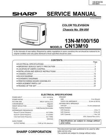 Sharp 13NM100B-M150B-CN13M10B Service Manual by download Mauritron #207300