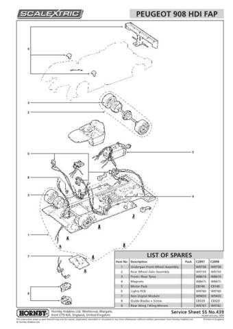 Scalextrix No.439 Peugeot 908 HDI FAP Service Sheets by download Mauritron #206