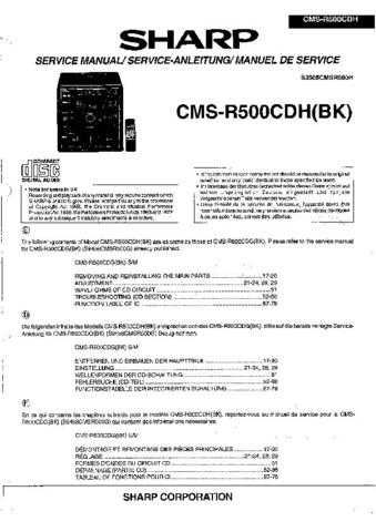 Sharp CMSR500CDH -DE-FR(1) Service Manual by download Mauritron #208735