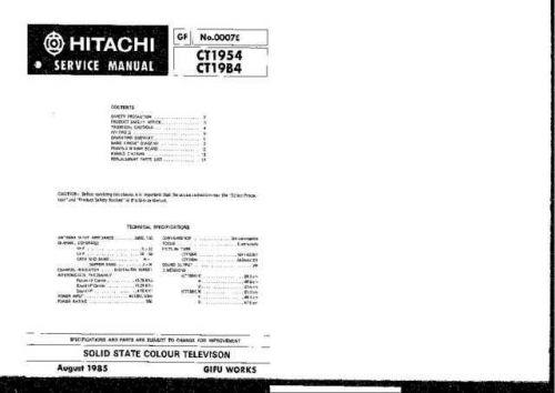 Hitachi CT1954 Service Manual Schematics by download Mauritron #205937