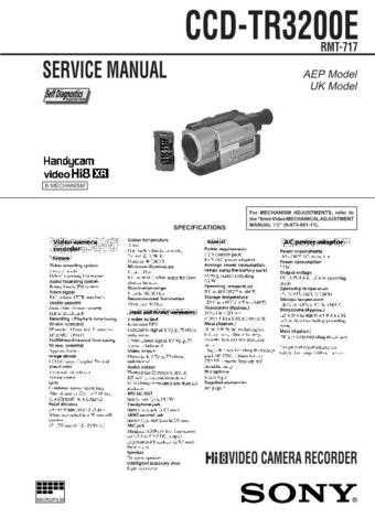 SONY DC6 CAMCORDER SERVICE MANUAL Technical Info by download #104860