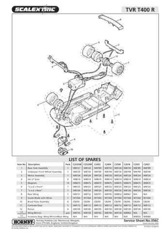 Scalextrix No.356C TVR T400 R Service Sheets by download Mauritron #206479