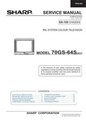 Sharp 70GS64S (1) Service Manual by download Mauritron #207952