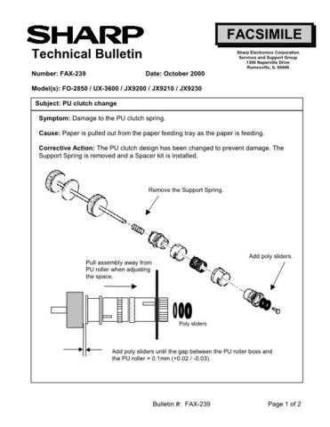 SHARP FAX229 TECHNICAL BULLETIN by download #104398