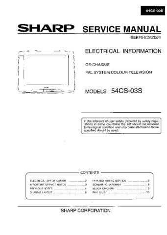 Sharp 54CS03S Service Manual by download Mauritron #207833