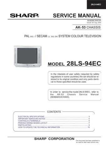 Sharp 28LS94EC Service Manual by download Mauritron #207584