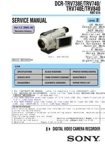 Sony TRV80TRV80E Service Manual. by download Mauritron #245588