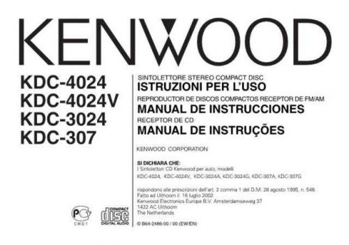 Kenwood KDC-4024 Operating Guide by download Mauritron #221674