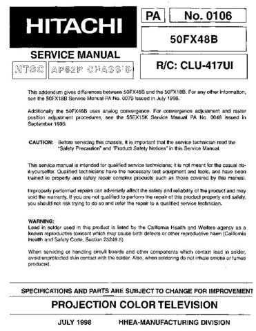Hitachi 50FX48B Service Manual Schematics by download Mauritron #205823