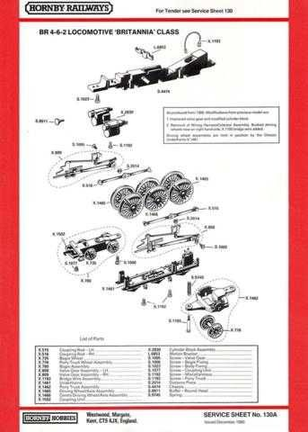 Hornby No.130A BR 4-6-2 Britannia Class Service Sheets by download Mauritron #2