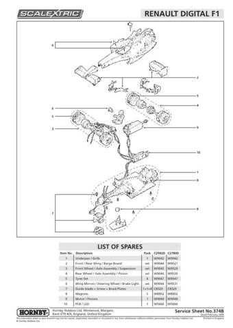 Scalextrix No.374B Renault Digital F1 Service Sheets by download Mauritron #206