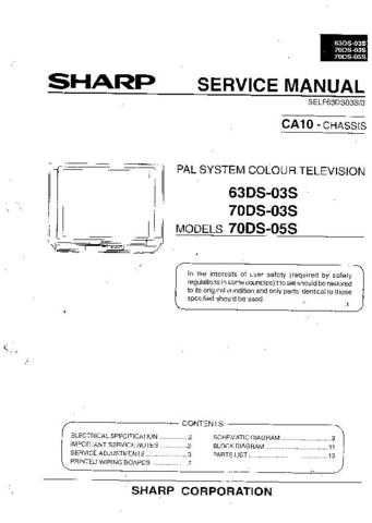Sharp 70DS03S-70DS05S-63DS03S Service Manual by download Mauritron #207913