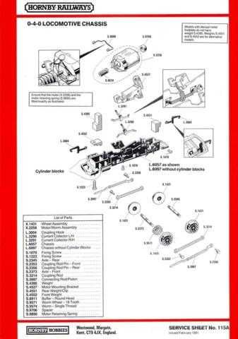 Hornby No.115A 0-4-0 Loco Chassis Service Sheets by download Mauritron #206840