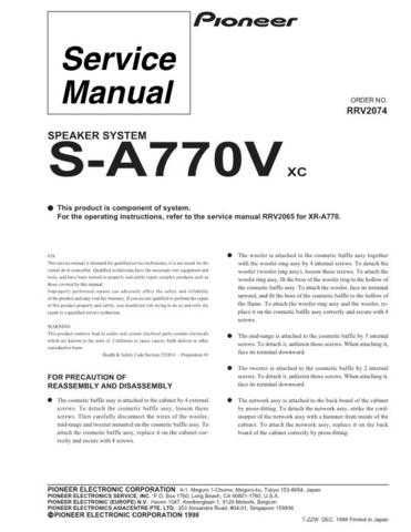 PIONEER R2074 Service I by download #106402