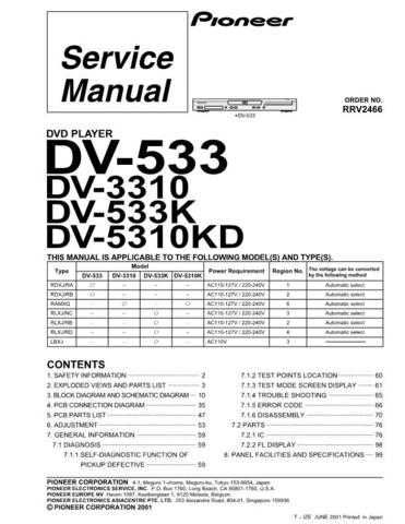 Pioneer DV-533-5 Service Manual by download Mauritron #234293