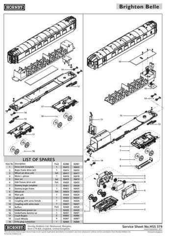 Hornby No.379 Brighton Belle Part 1 Service Sheets by download Mauritron #20715