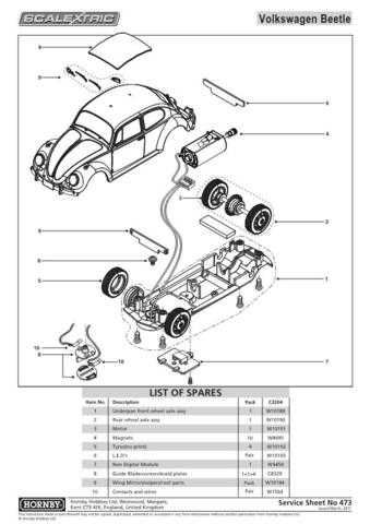 Scalextrix No.473 Volkswagen Beetle Service Sheets by download Mauritron #20665
