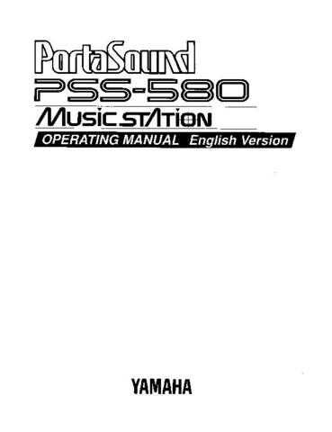 Yamaha PSS580E Operating Guide by download Mauritron #249469