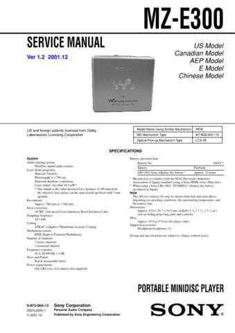 Sony MZ-E300 service manual Technical Manual. by download Mauritron #243084