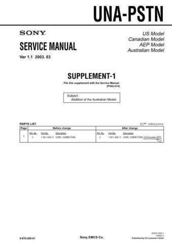 Sony UNA-PSTN.. Service Manual by download Mauritron #241851