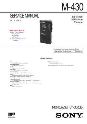 SONY M430 Technical Info by download #104806