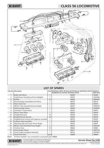Hornby No.229F Class 56 Service Sheets by download Mauritron #206958