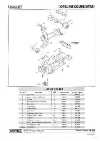 Scalextrix No.339 Opel V8 Coupe Service Sheets by download Mauritron #206442