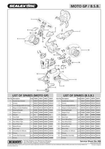 Scalextrix No.388 Moto GP-BSB Service Sheets by download Mauritron #206540