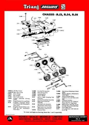 Triang Tri-ang No.004 Chassis R53 R54 R56 Service Sheets by download Mauritron