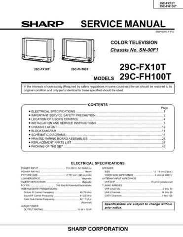 Sharp 29CFX10T-FH100T Service Manual by download Mauritron #207610
